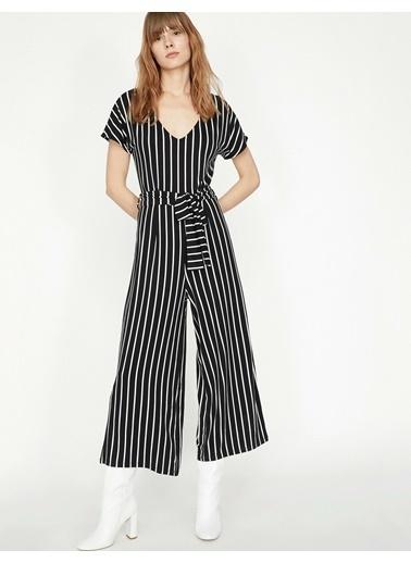 Koton Çizgili Elbise Siyah